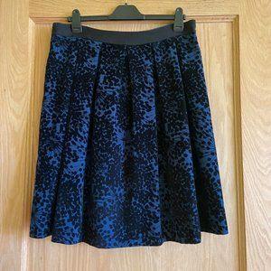 Boden Blue and Black Velvet Skirt